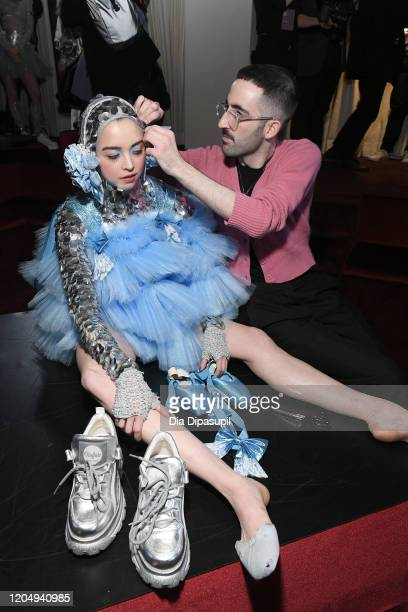 Jackson Wiederhoeft and model at Wiederhoeft Fall / Winter 2020 New York Fashion Week Presentation The Music Box at Sunken Living Room at Spring...