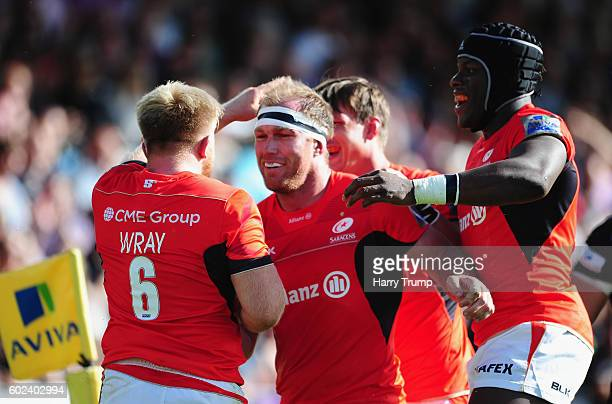 Jackson Wray of Saracens celebrates his try during the Aviva Premiership match between Exeter Chiefs and Saracens at Sandy Park on September 11 2016...