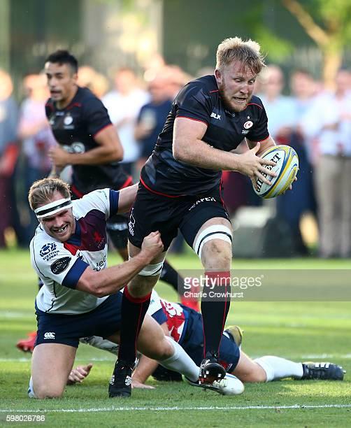 Jackson Wray of Saracens in action during the pre season friendly match between Saracens and London Scottish FC at Honourable Artillery Company on...