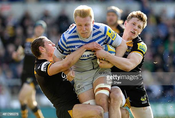 Jackson Wray of Saracens on his way to scoring the opening try during the Aviva Premiership match between London Wasps and Saracens at Adams Park on...