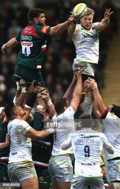 Jackson Wray of Saracens wins the lineout from Mike Fitzgerald during the Aviva Premiership match between Leicester Tigers and Saracens at Welford...