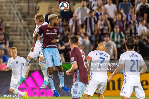 Jackson Yueill of the San Jose Earthquakes and Kellyn Acosta of the Colorado Rapids reach for a header during the second half at Dick's Sporting...