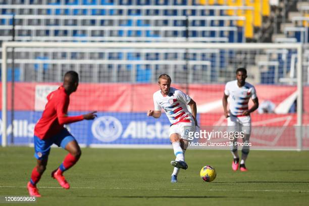 Jackson Yueill of the United States during a game between Costa Rica and USMNT at Dignity Health Sports Park on February 1 2020 in Carson California