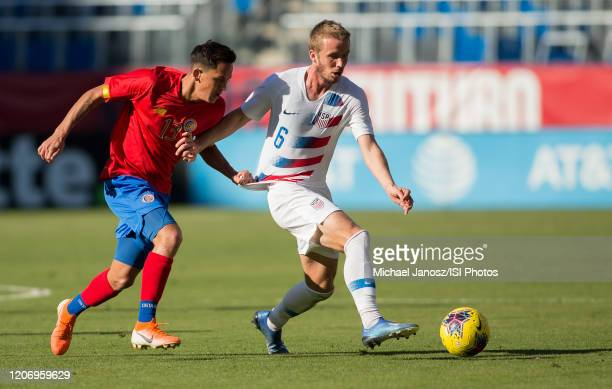 Jackson Yueill of the United States tmoves past Cristopher Nunez of Costa Rica during a game between Costa Rica and USMNT at Dignity Health Sports...