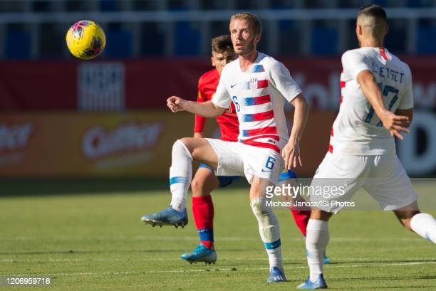 Jackson Yueill of the United States traps a ball during a game between Costa Rica and USMNT at Dignity Health Sports Park on February 1 2020 in...