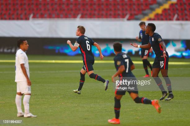 Jackson Yueill of United States celebrates after scoring the first goal of his team during the semifinals match between Honduras and USA as part of...