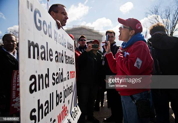J JacksonLincoln who is married to a woman argues with Alan Hoyle who is against gay marriage outside of the Supreme Court during opening arguments...