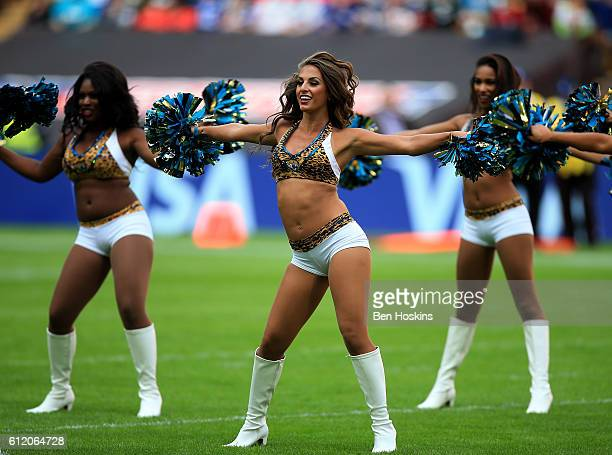 Jacksonville cheerleaders perform during the NFL International Series match between Indianapolis Colts and Jacksonville Jaguars at Wembley Stadium on...