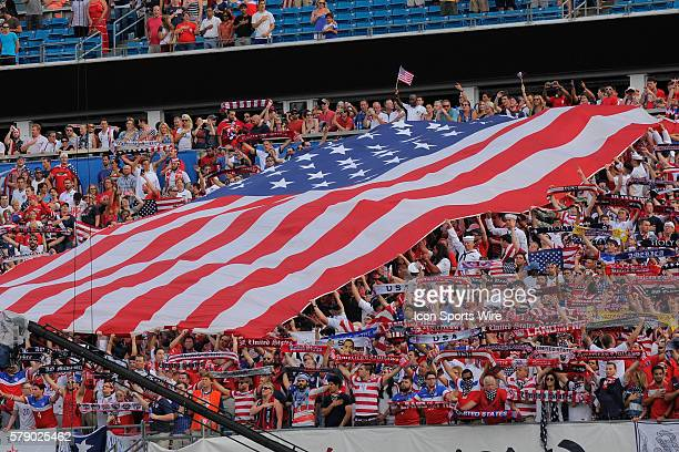 Jacksonville Florida USA fans large flag during Nigeria v USA World Cup warmup game at the EverBank Field in Jacksonville Florida