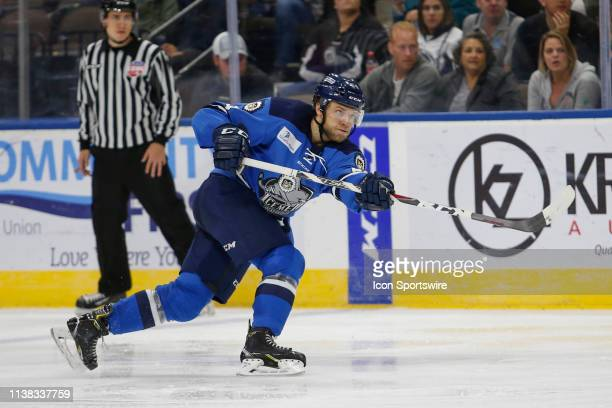 Jacksonville Icemen defenseman Hayden Shaw talked a shot on goal during the game between the Florida Everblades and the Jacksonville Icemen on April...