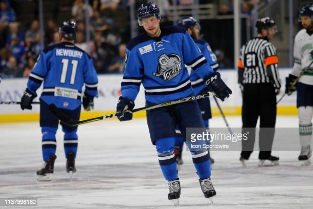 Jacksonville Icemen forward Cody Fowlie during the game between the Florida Everblades and the Jacksonville Icemen on April 18 2018 at the Vystar...