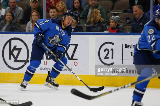 Jacksonville Icemen forward Kris Newbury during the game between the Florida Everblades and the Jacksonville Icemen on April 20 2018 at the Vystar...