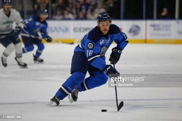 Jacksonville Icemen forward Maxime Fortier during the game between the Florida Everblades and the Jacksonville Icemen on April 20 2018 at the Vystar...