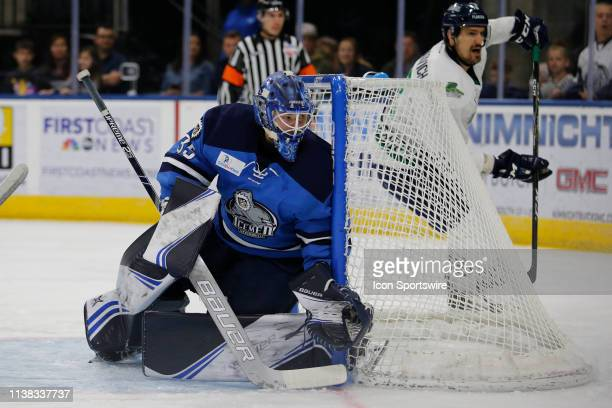 Jacksonville Icemen goaltender Ken Appleby during the game between the Florida Everblades and the Jacksonville Icemen on April 20 2018 at the Vystar...