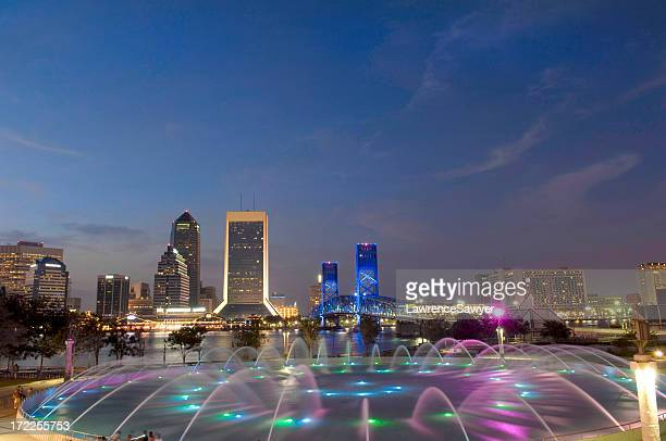 jacksonville in florida light skyline at night - jacksonville florida stock pictures, royalty-free photos & images
