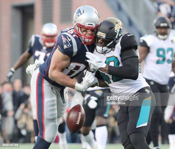Jacksonville Jaguars' Barry Church hits Patriots' Rob Gronkowski on the helmet drawing a penalty in the second quarter The New England Patriots host...