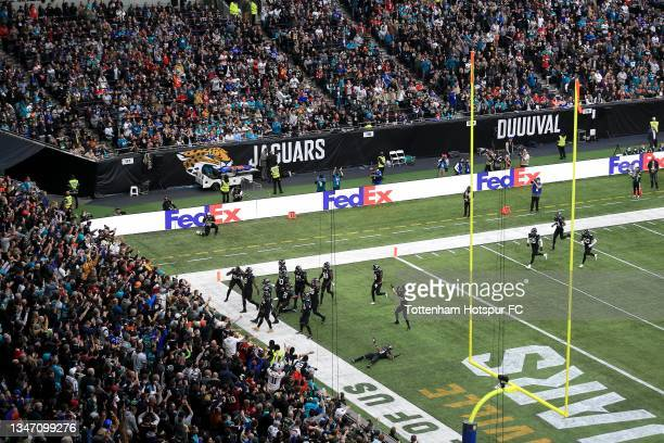 Jacksonville Jaguars celebrate during the NFL London 2021 match between Miami Dolphins and Jacksonville Jaguars at Tottenham Hotspur Stadium on...
