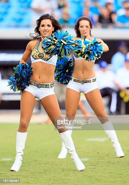 Jacksonville Jaguars cheerleader performs during a preseason game against the Atlanta Falcons at EverBank Field on August 30, 2012 in Jacksonville,...