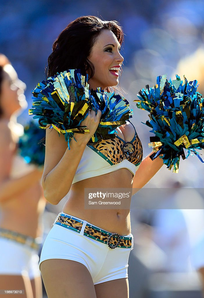 A Jacksonville Jaguars cheerleader performs during the game against the Tennessee Titans at EverBank Field on November 25, 2012 in Jacksonville, Florida.