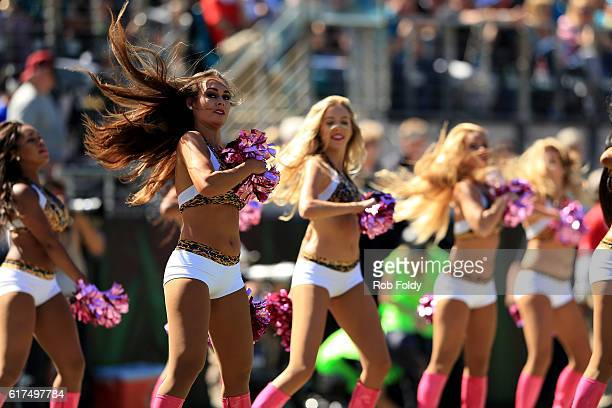 Jacksonville Jaguars cheerleaders during the game against the Oakland Raiders at EverBank Field on October 23 2016 in Jacksonville Florida