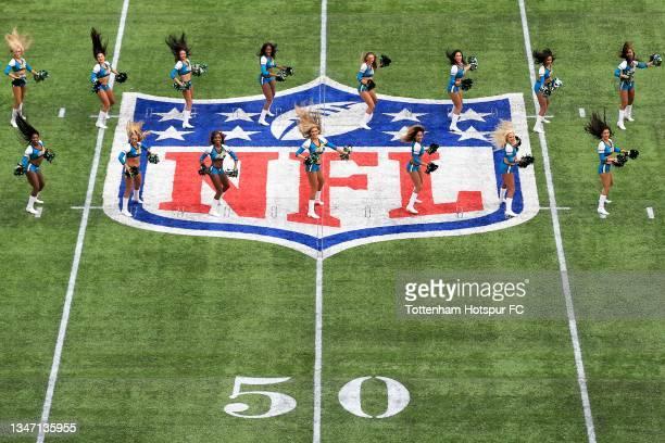 Jacksonville Jaguars' Cheerleaders during the NFL London 2021 match between Miami Dolphins and Jacksonville Jaguars at Tottenham Hotspur Stadium on...