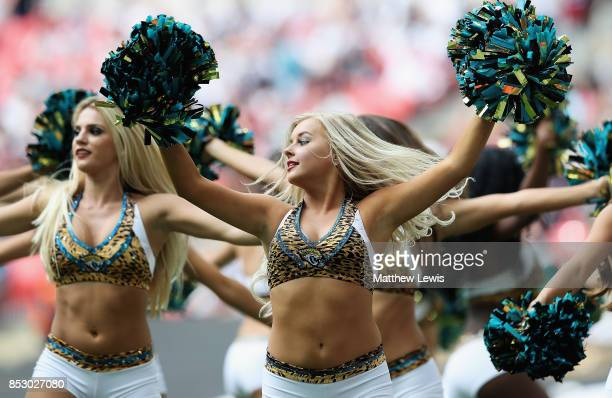 Jacksonville Jaguars cheerleaders in action during the NFL International Series match between Baltimore Ravens and Jacksonville Jaguars at Wembley...
