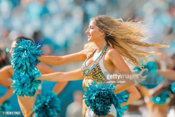 Jacksonville Jaguars cheerleaders perform during the third quarter of a game against the New Orleans Saints at TIAA Bank Field on October 13, 2019 in...
