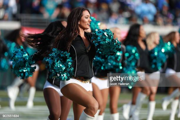Jacksonville Jaguars cheerleaders perform in the second half of the AFC Wild Card Round game against the Buffalo Bills at EverBank Field on January 7...