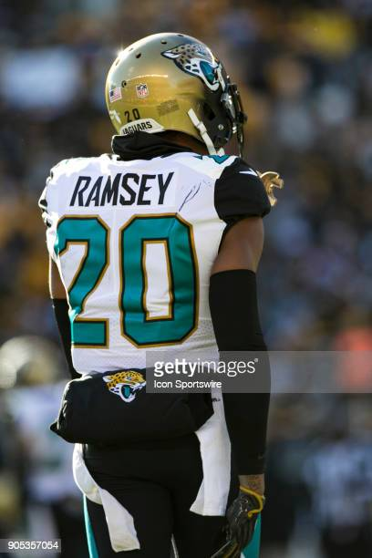 Jacksonville Jaguars cornerback Jalen Ramsey looks on during the AFC Divisional Playoff game between the Jacksonville Jaguars and the Pittsburgh...