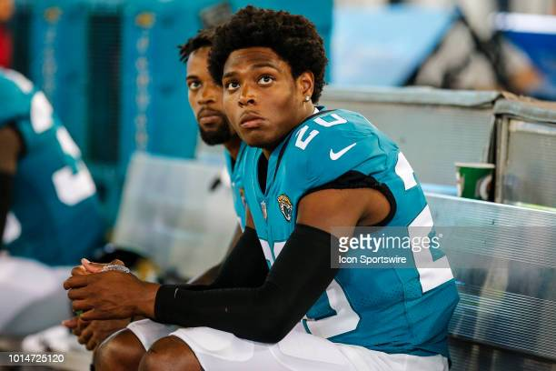 Jacksonville Jaguars cornerback Jalen Ramsey on the bench during the game between the New Orleans Saints and the Jacksonville Jaguars on August 9...