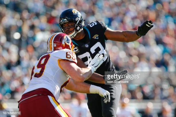 Jacksonville Jaguars Defensive End Calais Campbell is blocked by Washington Redskins Offensive Guard Luke Bowanko during the game between the...