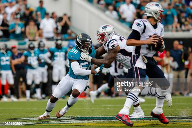 Jacksonville Jaguars defensive end Dante Fowler Jr fights past New England Patriots offensive lineman Trent Brown during the game between the New...