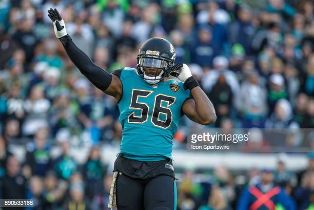 Jacksonville Jaguars defensive end Dante Fowler Jr pumps up the crowd during the game between the Seattle Seahawks and the Jacksonville Jaguars on...