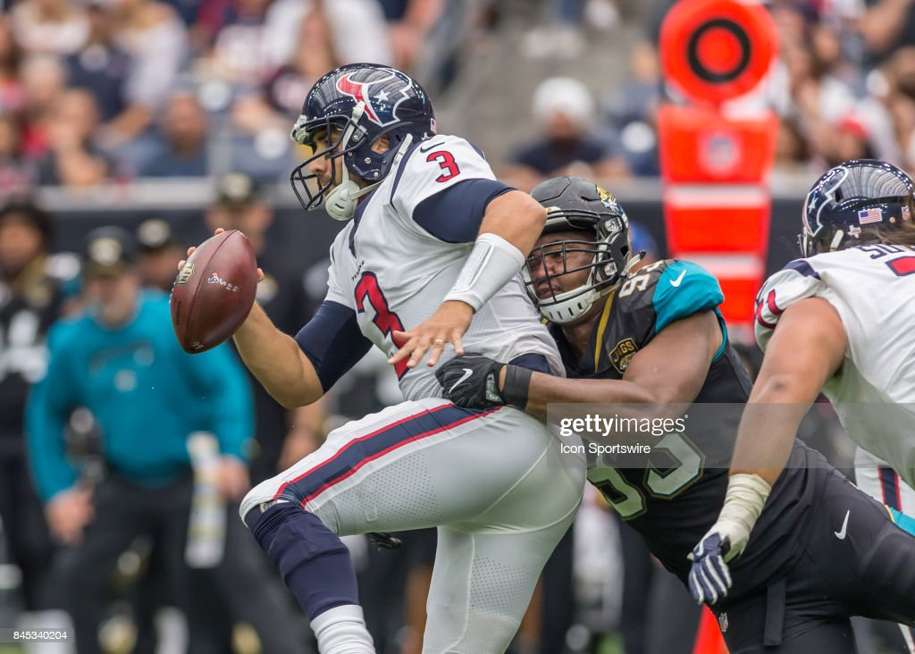Jacksonville Jaguars defensive tackle Calais Campbell (93) sacks Houston Texans quarterback Tom Savage (3) during the NFL game between the Jacksonville Jaguars and Houston Texans on September 10, 2017 at NRG Stadium in Houston, TX.