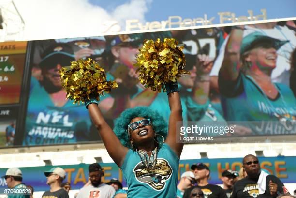 Jacksonville Jaguars fan cheers from the stands in the first half of their game against the Cincinnati Bengals at EverBank Field on November 5 2017...