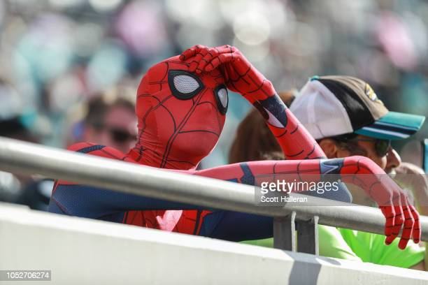 Jacksonville Jaguars fan dressed up as SpiderMan looks on in disappointment following the Jaguars 207 loss to the Houston Texans at TIAA Bank Field...