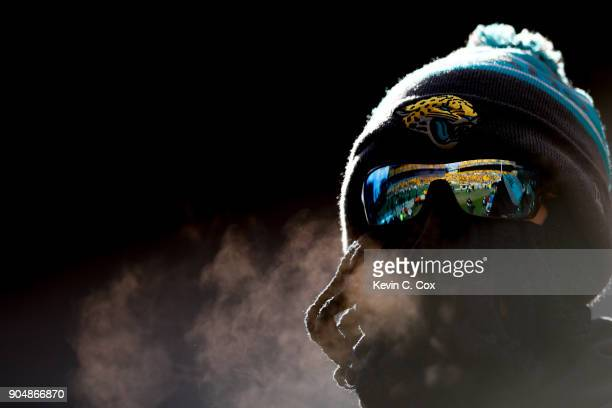 Jacksonville Jaguars fan looks on prior to the first half of the AFC Divisional Playoff game against the Pittsburgh Steelers at Heinz Field on...