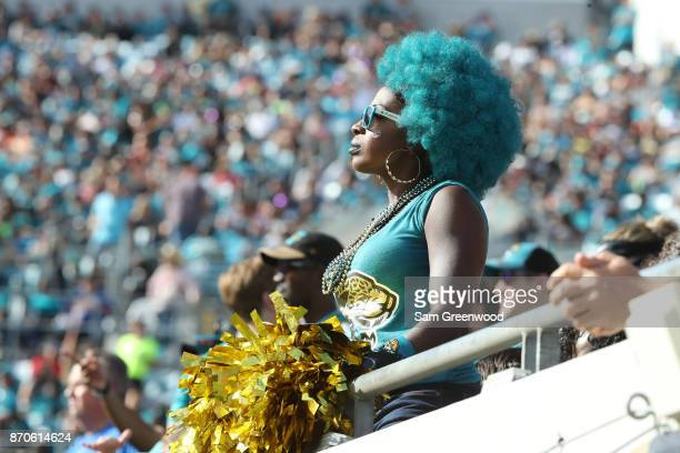 Jacksonville Jaguars fans wait in the stands in the second half of their game against the Cincinnati Bengals at EverBank Field on November 5 2017 in...