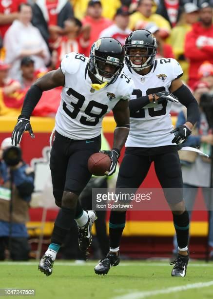 Jacksonville Jaguars free safety Tashaun Gipson celebrates after intercepting Kansas City Chiefs quarterback Patrick Mahomes in the second quarter of...