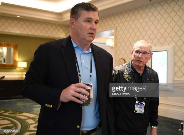Jacksonville Jaguars head coach Doug Marrone and Executive Vice President of Football Operations Tom Coughlin head to a meeting during the 2018 NFL...