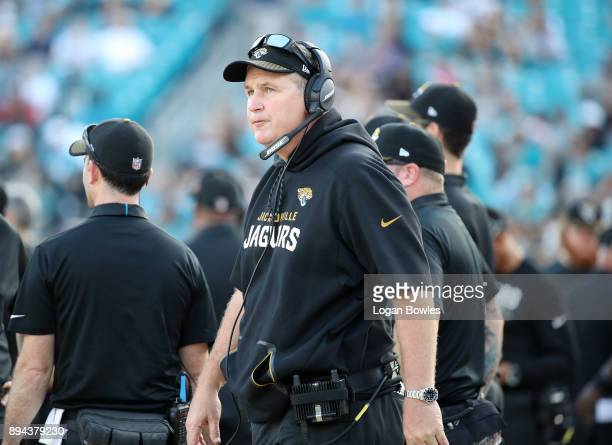 Jacksonville Jaguars head coach Doug Marrone watches the action from the sidelines during the second half of their game against the Houston Texans at...