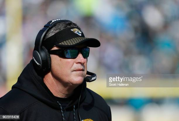 Jacksonville Jaguars head coach Doug Marrone watches the action in the second half of the AFC Wild Card Round game against the Buffalo Bills at...