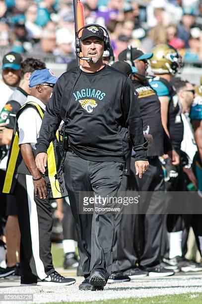 Jacksonville Jaguars head coach Gus Bradley walks the sidelines during the NFL game between the Minnesota Vikings and the Jacksonville Jaguars on...