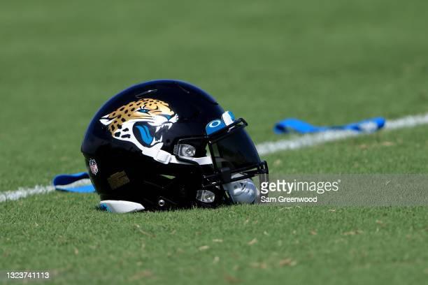 Jacksonville Jaguars helmet as seen during Jacksonville Jaguars Mandatory Minicamp at TIAA Bank Field on June 15, 2021 in Jacksonville, Florida.
