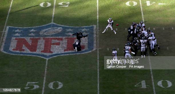 Jacksonville Jaguars Josh Lambo kicks a field goal during the International Series NFL match at Wembley Stadium London