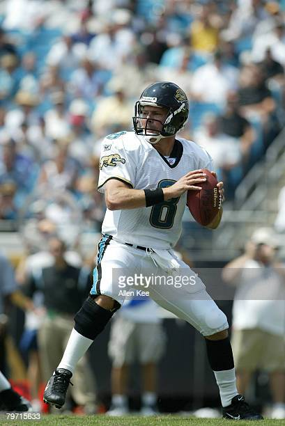 Jacksonville Jaguars Mark Brunell in action against the Buffalo Bills at Alltel Stadium in Jacksonville Florida September 14 2003 The Bills defeated...