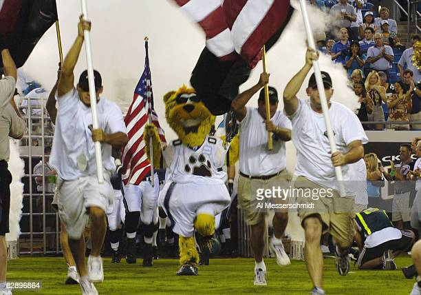 Jacksonville Jaguars mascot Jaxon enters the field before an August 27 2004 NFL preseason game in Jacksonville Florida