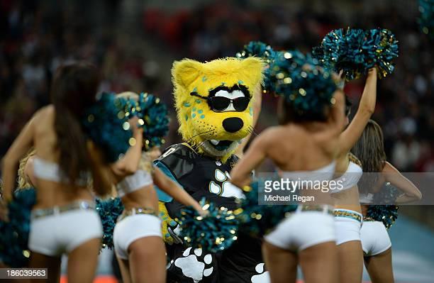 Jacksonville Jaguars mascot Jaxson de Ville performs with cheerleaders during the NFL International Series game between San Francisco 49ers and...