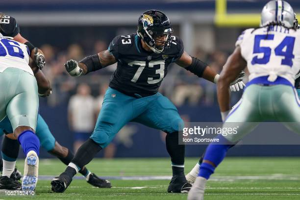 Jacksonville Jaguars offensive guard Josh Walker in action during the game between the Jacksonville Jaguars and Dallas Cowboys on October 14 2018 at...
