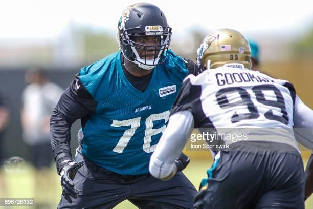 Jacksonville Jaguars offensive lineman Brandon Albert blocks during minicamp at the Jaguars Practice Facility on June 15 2017 in Jacksonville Fl